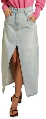 LES COYOTES DE PARIS Joy Front-Split Denim Skirt