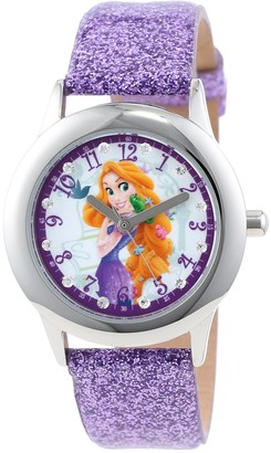 Disney Kids' W000409 Tween Rapunzel Stainless Steel and Purple Glitter Strap Watch