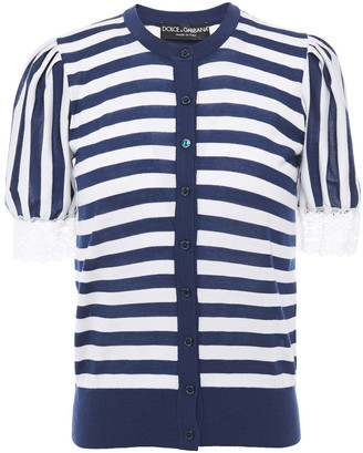 Dolce & Gabbana Gathered Striped Cashmere-blend Top
