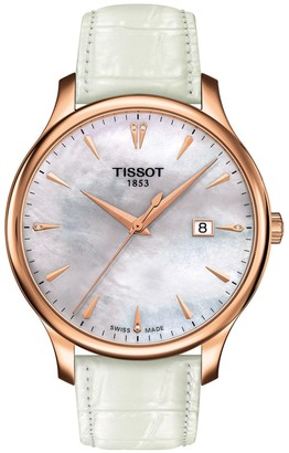 Tissot Women's Tradition Croc Embossed Leather Watch, 42mm