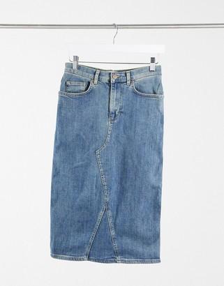ELVI denim midi pencil skirt in light blue wash