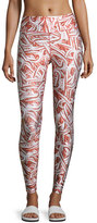Terez Glitter Candy Cane Leggings, Red