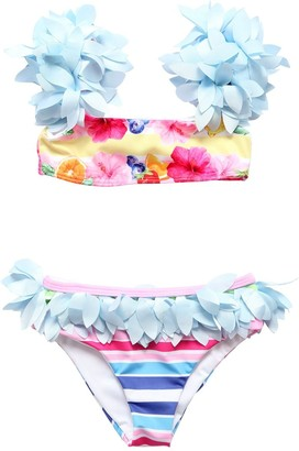 MonnaLisa Floral Printed Bikini W/ Appliques
