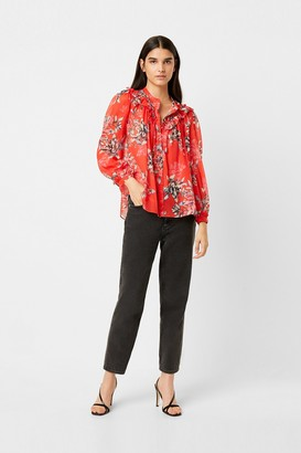 French Connection Coletta Crinkle Ruffle Sleeve Blouse