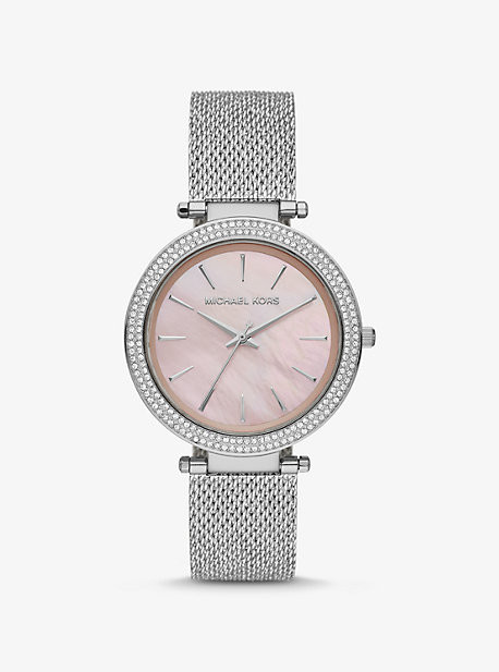 Michael Kors Oversized Darci Pave Silver-Tone and Mesh Watch - Silver
