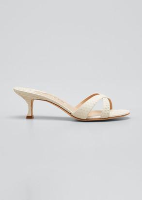 Manolo Blahnik Callamu Snakeskin Crisscross Kitten-Heel Sandals