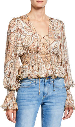 Shona Joy Pallenberg Paisley Shirred Lace-Up Long-Sleeve Peplum Blouse