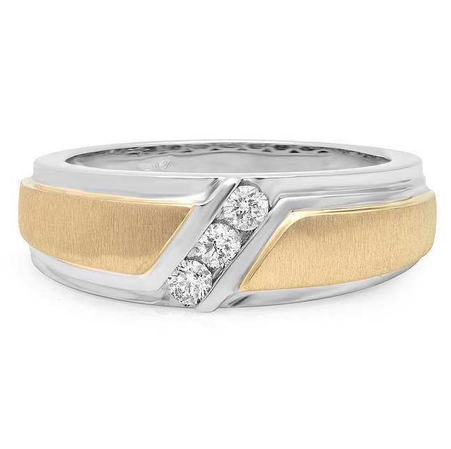 JCPenney MODERN BRIDE Mens 1/4 CT. T.W. Diamond 10K Two-Tone Gold 3-Stone Wedding Band