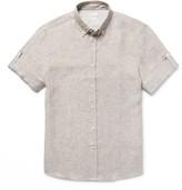 Brunello Cucinelli - Button-down Collar Slub Linen Shirt