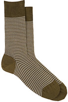 Barneys New York MEN'S HOUNDSTOOTH COTTON-BLEND MID-CALF SOCKS