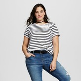 Ava & Viv Women's Plus Size Striped Crew Neck Tee