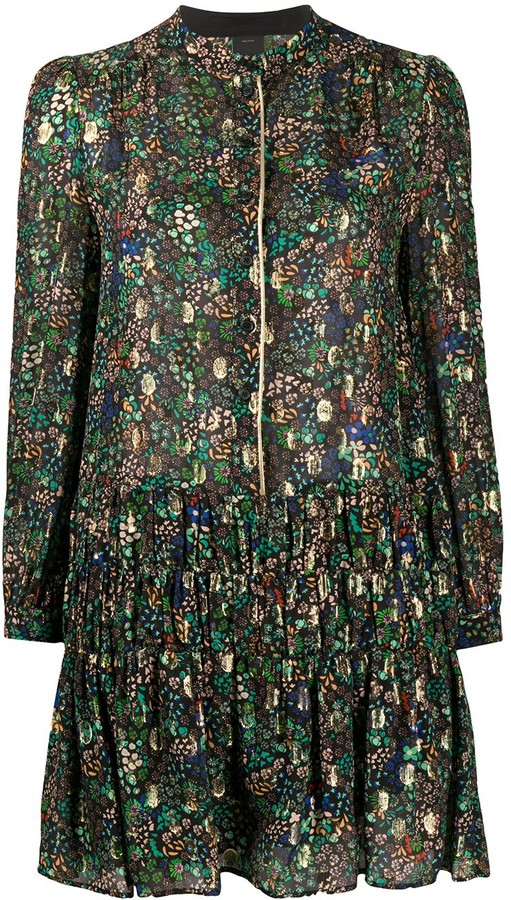 Pinko Long Sleeve Floral Print Dress