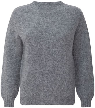 Brushed Wool Long Sleeved Light Grey Sweater Jumper