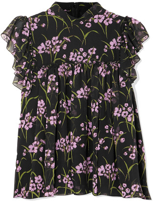 Giambattista Valli Ruffled Floral-print Silk-chiffon Top