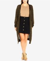 City Chic Plus Size Open-Knit Duster Cardigan