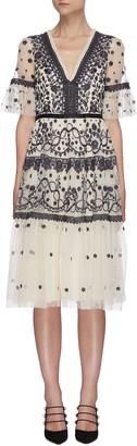 Needle & Thread Midsummer' lace trim floral embroidered short sleeve mini dress