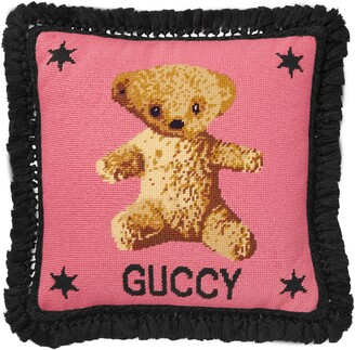 Gucci Needlepoint cushion with teddy bear
