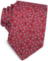 Lanvin Geometric Square Patterned Woven Silk Tie