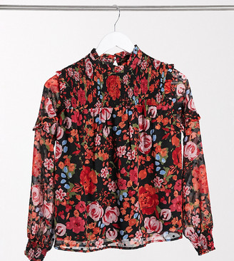 Vero Moda Petite chiffon blouse with high neck in red floral