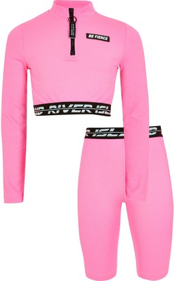 River Island Girls Pink RI Active crop top outfit