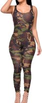 Foxexy Women Sexy Slim Camouflage Strap Backless Full Length Sleeveless Jumpsuit Army Green XS