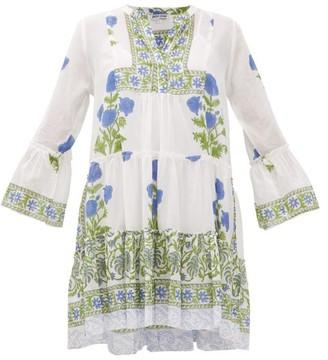 Juliet Dunn Tiered Floral-print Cotton Dress - Womens - Green White