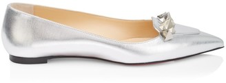 Christian Louboutin Miss Constella Studded Metallic Leather Ballet Flats