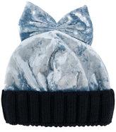 Federica Moretti velvet bow beanie - women - Polyester/Spandex/Elastane/Virgin Wool - One Size