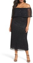 Pisarro Nights Plus Size Women's Beaded Off The Shoulder Long Dress
