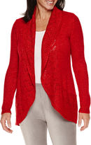 Sag Harbor Long Sleeve Pointelle Stitch Placket Cardigan
