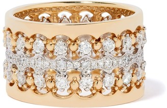 Annoushka 18kt yellow and white gold Crown double diamond ring stack
