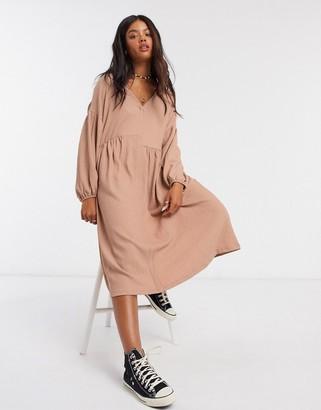 ASOS DESIGN oversized textured shirt smock midi dress in mocha