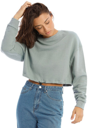 Miss Shop Cropped Drawstring Waist Sweat Smoke