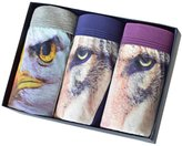 SHOWEET Men's Sexy 3D Wolf Owl Animal Print Boxers Briefs Stretch Underpants