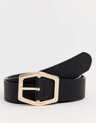 Asos Design DESIGN faux leather wide belt in black with gold hexagon buckle-Gray