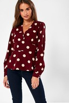 Iclothing iClothing Rhiannon Polka Dot Blouse in Wine