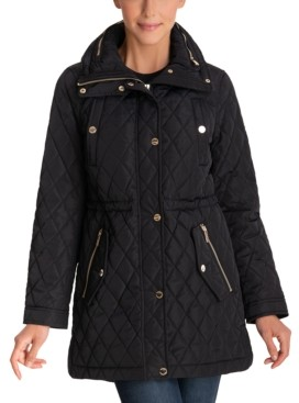 Michael Kors Michael Petite Hooded Quilted Anorak Coat, Created for Macy's