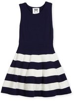 Milly Minis Sleeveless Striped Fit-and-Flare Sweaterdress, Navy, Size 4-7
