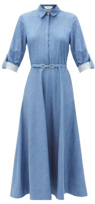 Gabriela Hearst Marley Belted Denim Midi Shirt Dress - Blue