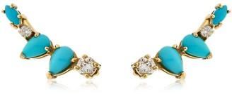 Turquoise Diamond Cluster Earrings