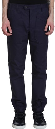 Lanvin Buttoned Slim Pants In Blue Cotton