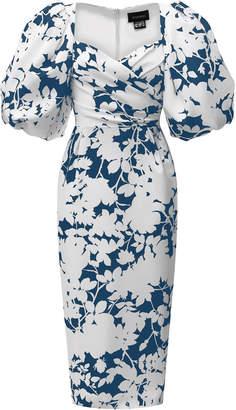 Rasario Draped Floral Satin Dress