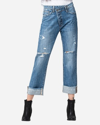 Express Flying Monkey High Waisted Asymmetric Waist Boyfriend Jeans