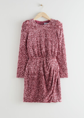 And other stories Padded Shoulder Sequin Dress