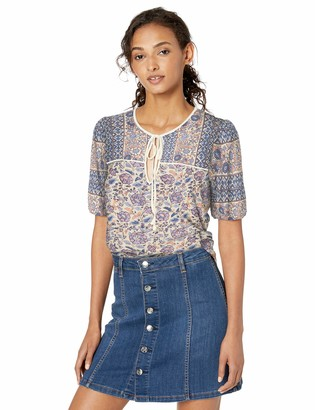 Lucky Brand Women's Printed Short Sleeve Peasant TOP