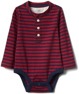 Stripe long sleeve henley bodysuit