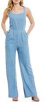 Jessica Simpson Sandy Sleeveless Wide Leg Overall Jumpsuit