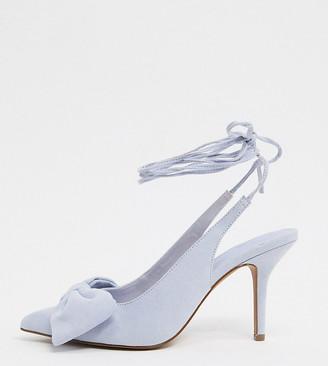 ASOS DESIGN Wide Fit Sylvie tie leg mid-heels with bow in cornflower blue