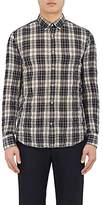 Officine Generale MEN'S PLAID CRINKLED COTTON-BLEND SHIRT