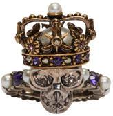 Alexander McQueen Silver King Skull Ring